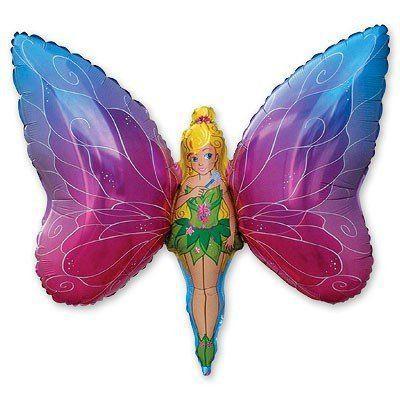 Фольгированные шары большие фигуры  фигура Фея бабочка 100х71 см FlexMetal