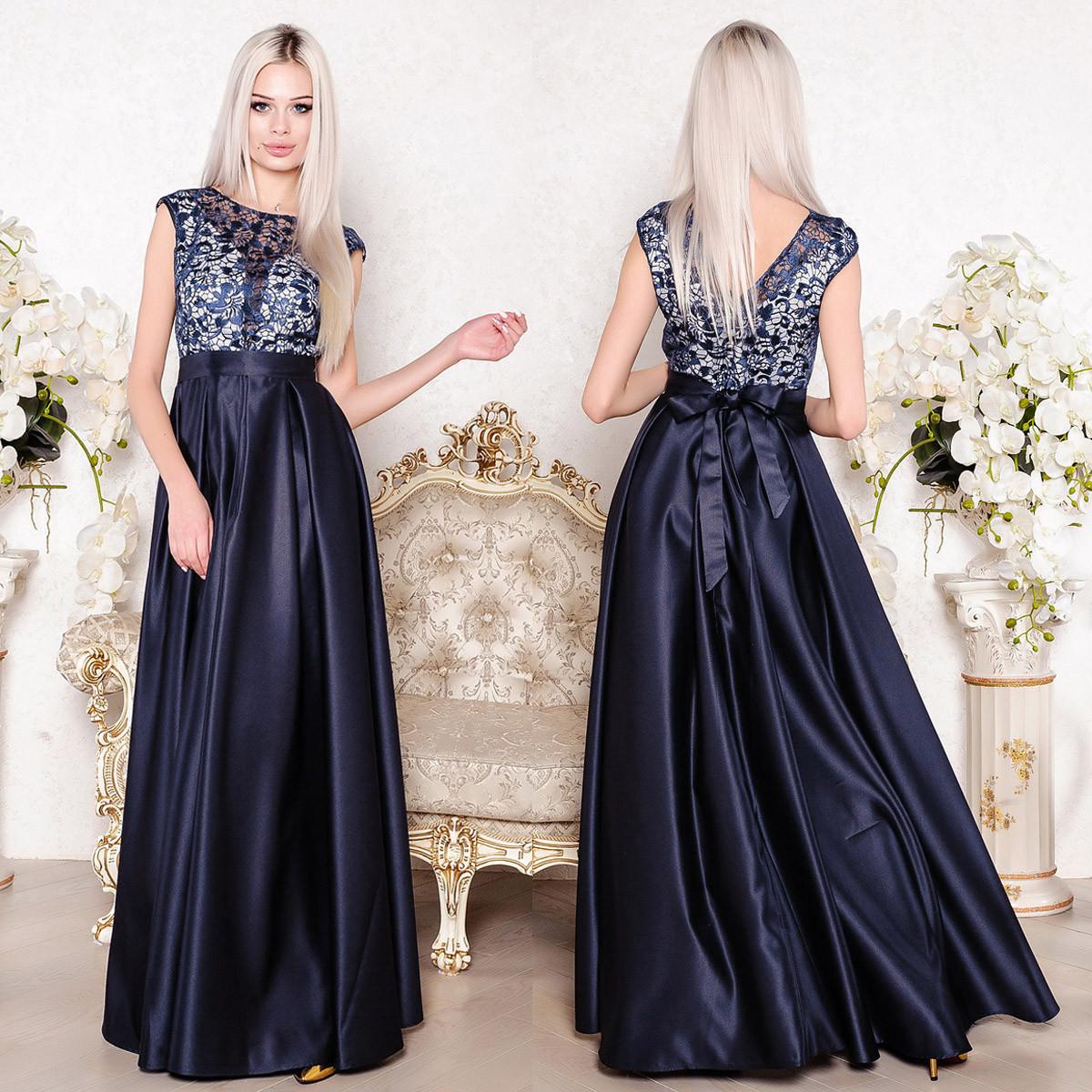 """Синє вечірнє плаття довге з атласу розмір S """"Богема"""""""