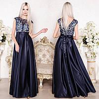 """Синє вечірнє плаття довге з атласу розмір S """"Богема"""", фото 1"""