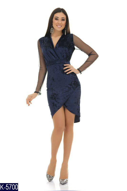 027246fdea7 Коктейльное бархатное платье на запах с прозрачными рукавами -  Интернет-магазин