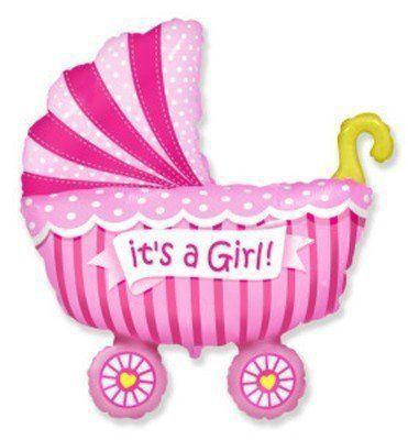 Фольгированные шары большие фигуры  Коляска детская розовая 73х95 см FlexMetal