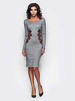 Трикотажное платье с вышивкой по талии 90284/1, фото 1