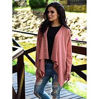 Розовый пиджак -кардиган с бусинами в размерах 42-48 пряжа