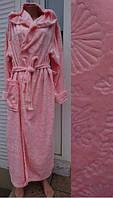Женский длинный халат на запах с капюшоном размеры 42 по 60