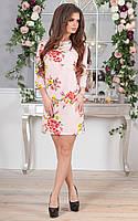 Платье из костюмки цветочный принт