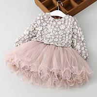 Детское платье с пышной юбкой цвет пудра