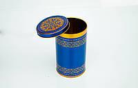 Коробка с крышкой из жести, 10х19 см, Синее золото, Праздничная упаковка из жести, Днепр