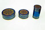 Коробка с крышкой из жести, 10х19 см, Синее золото, Праздничная упаковка из жести, Днепр, фото 5