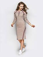 Женское трикотажное платье по колено с тесьмой по реглану и низу 90285, фото 1