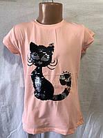 Детская футболка с пайетками для девочки Котик 9-12 лет