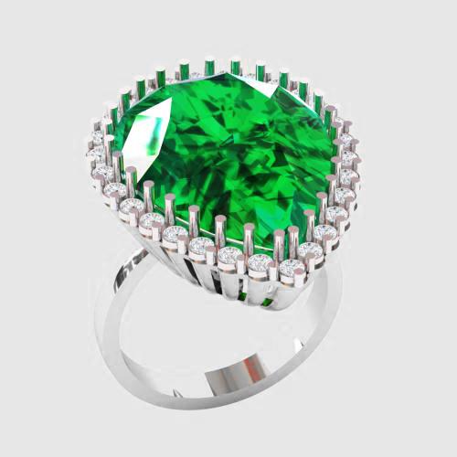 Кольцо  женское серебряное Изумрудная капля КН 1571