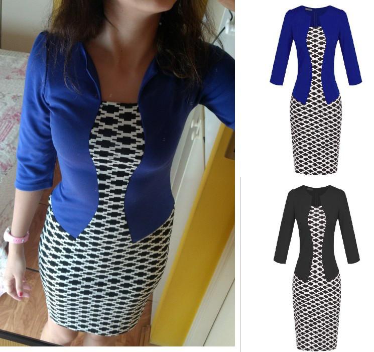Платье пиджак-обманка с принтом ромб повседневное офисное пиджак Черный и синий(электрик) .