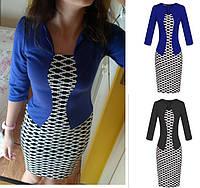 Платье пиджак-обманка с принтом ромб повседневное офисное пиджак Черный и синий(электрик) ., фото 1