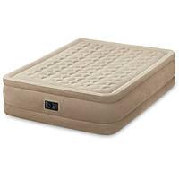 Надувна велюрова ліжко Intex 64458, бежева, з вбудованим насосом 220V, 203 х 152 х 46 см, фото 1