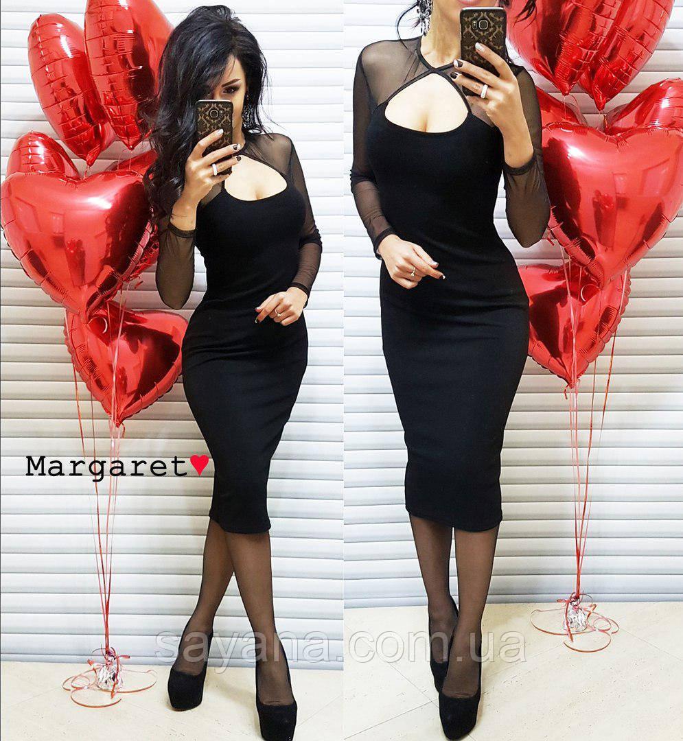 Женское стрейчевое платье с оригинальным декором. БЛ-12-0218