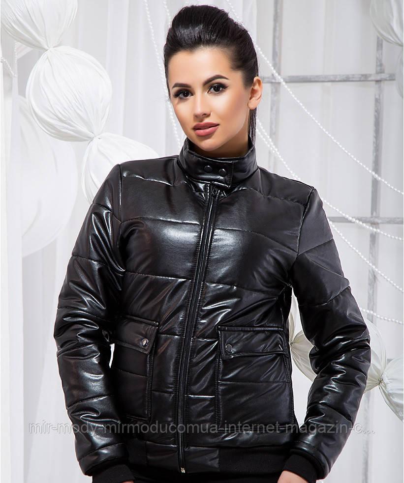 Стильная куртка из экокожи - 19334 БЛ