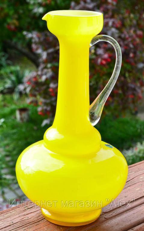 Шикарная изысканная ваза,кувшин! Цветное стекло! 30 см. ITALY!