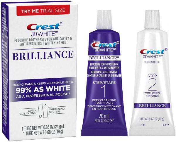 Набор для отбеливания зубов Crest 3D White Brilliance Toothpaste and Whitening Gel миниатюра