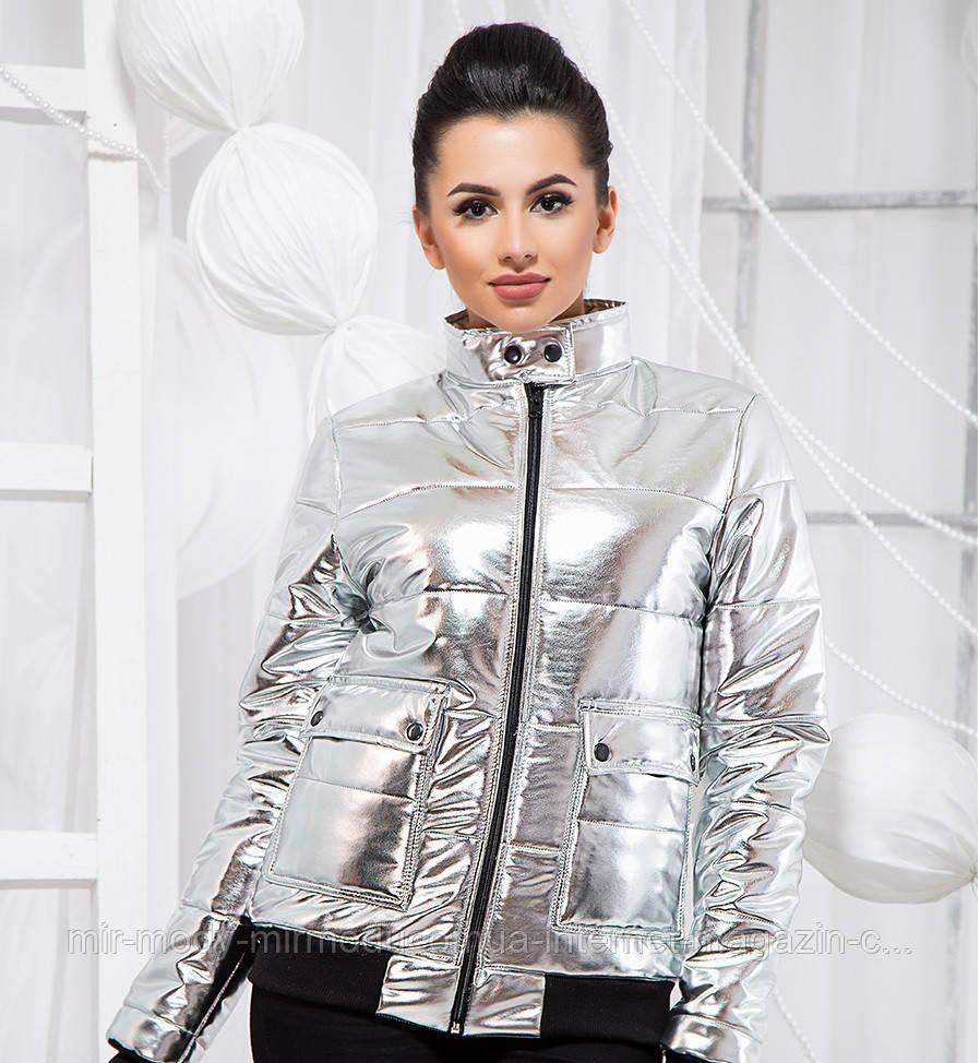 Стильная куртка из экокожи - 19335 БЛ