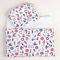 Комплект в коляску BabySoon Мой морячок одеяло 65 х 75 см подушка 22 х 26 см (198), фото 1