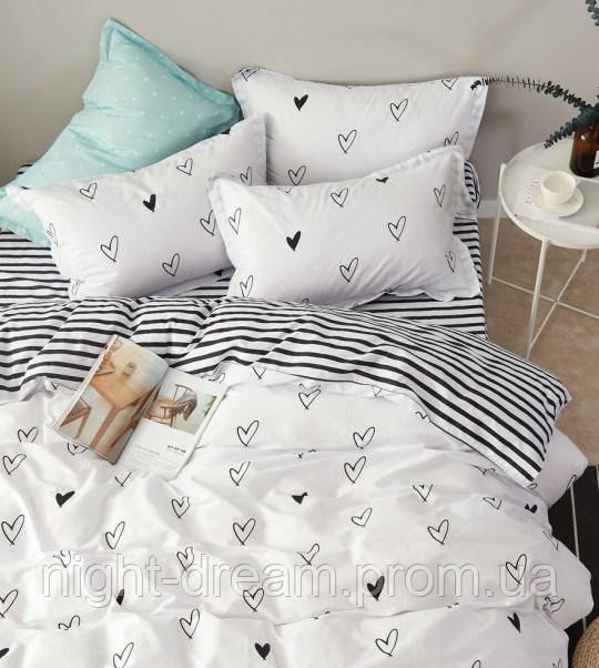 Белое постельное белье с сердечками B-0100