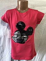 Детская футболка с пайетками для девочки Микки Маус 9-12 лет
