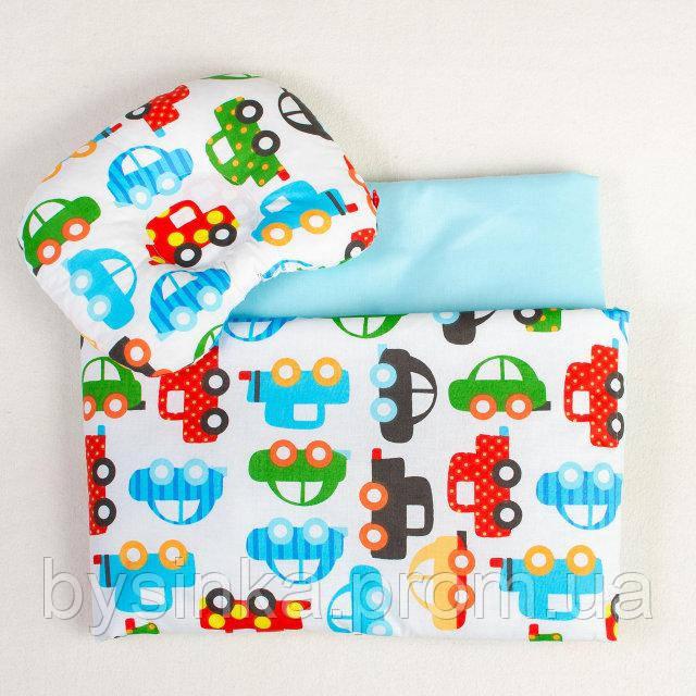 Комплект в коляску BabySoon Разноцветные машинки одеяло 65 х 75 см подушка 22 х 26 см бирюзовый (195)