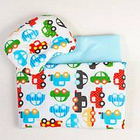 Комплект в коляску BabySoon Разноцветные машинки одеяло 65 х 75 см подушка 22 х 26 см бирюзовый (195), фото 1