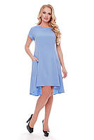 Модное платье Милана короткий рукав голубое