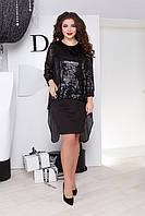 Красивое модное женское платье больших размеров цвет: черный, размер: 50, 52, 54, 56, 58, 60