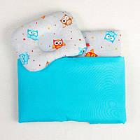 Комплект в коляску BabySoon Совы на бирюзе одеяло 65 х 75 см подушка 22 х 26 см (129), фото 1
