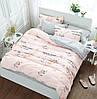 Серо-розовое постельное белье с надписями и цветами B-0102