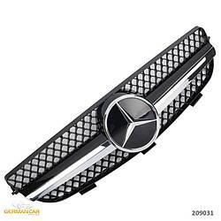 Решетка радиатора Mercedes CLK W209 стиль AMG (черный глянц + хром полоски)