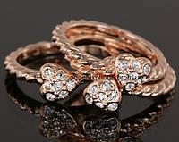 Необыкновенное тройное кольцо - трансформер с кристаллами Swarovski, покрытое слоями золота (102510)