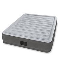 Двухспальная надувная флокированная кровать Intex 67768, серая, со встроенным насосом 220V, 191 x 137 x 33см