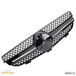 Решетка радиатора Mercedes CLK W209 стиль AMG (черный глянц + черная звезда)