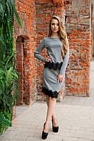 Женский Костюм с юбкой, цвет: серый