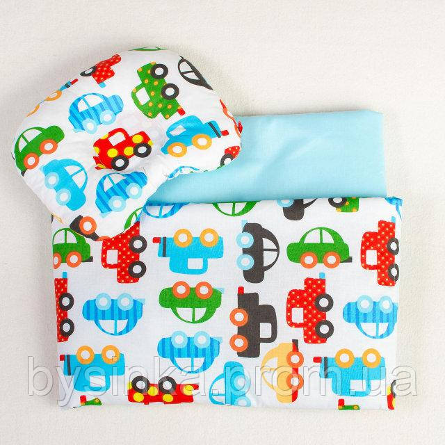 Летний комплект в коляску BabySoon Разноцветные автомобили одеяло 65 х 75см подушка 22 х 26 см бирюзовый (076)