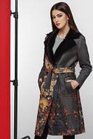 Молодежное пальто из экозамша с цветочным принтом Kiro Tokao 8580H
