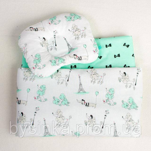 Комплект в коляску летний BabySoon Пудели в Париже одеяло 65 х 75 см подушка 22 х 26 см цвет мятный (079)