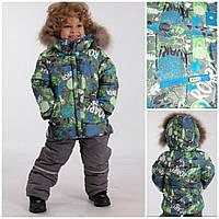 Kiko зимний костюм для мальчика куртка и комбинезон размер 98-104  4603