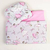 Летний комплект в коляску BabySoon Балеринки одеяло 65 х 75 см подушка 22 х 26 см розовый (092), фото 1