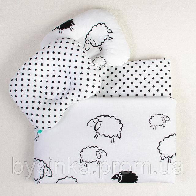 Комплект летний в коляску BabySoon Белоснежные барашки одеяло 65 х 75 см подушка 22 х 26 см (093)