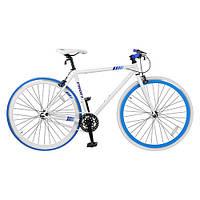 Велосипед 28д. FIX26C700-1 (1шт) сталь HI-TEN,трековые колеса 700-23с, двойной обод, бело-голубой