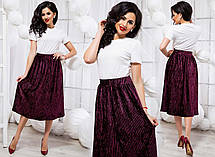 """Элегантный женский костюм с юбкой средней длины 2088 """"Мустанг Бархат Гофре Миди"""" в расцветках, фото 3"""