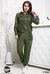 Женский спортивный костюм с гипюром зеленого цвета. Модель 17286. Размеры 50-56