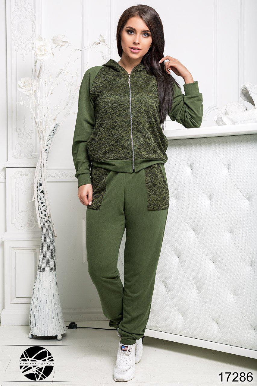 da36ef0d12f Женский спортивный костюм с гипюром зеленого цвета. Модель 17286. Размеры  50-56 -