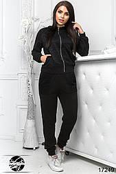 Женский спортивный костюм с гипюром черного цвета. Модель 17249. Размеры 50-56
