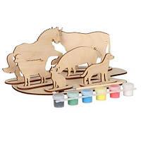 Сборная деревянная модель домашние животные + краски