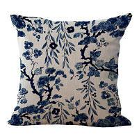 Главная Декоративные наволочки Классический китайский фарфор Цветы Pattern Уютный чехол Синий